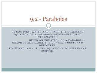 9.2 - Parabolas