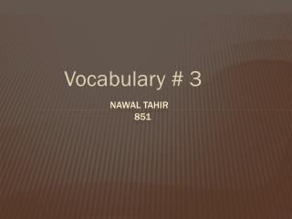 Vocabulary # 3