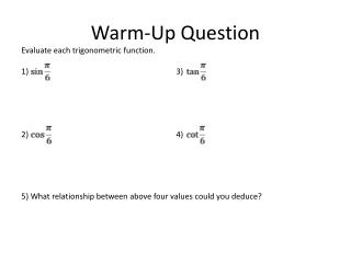 Warm-Up Question