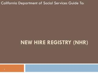 New Hire Registry (NHR)