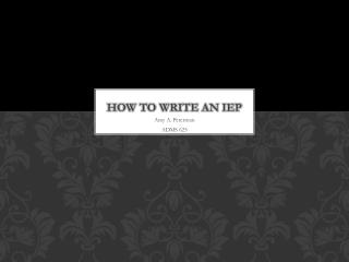 How to Write an IEP