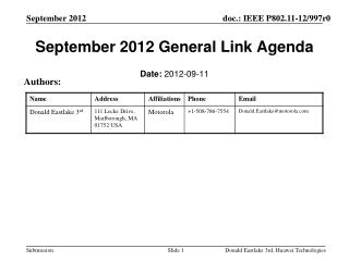 September 2012 General Link Agenda