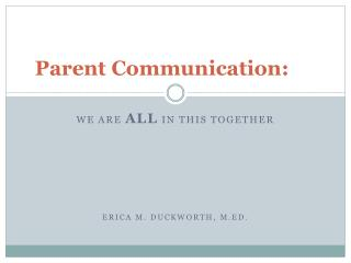 Parent Communication: