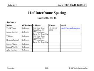 11af Interframe Spacing