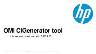 OMi CiGenerator  tool