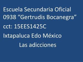 """Escuela  S ecundaria Oficial 0938 """"Gertrudis Bocanegra"""" cct: 15EES1425C Ixtapaluca Edo México"""
