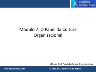 M�dulo 7: O Papel da Cultura Organizacional