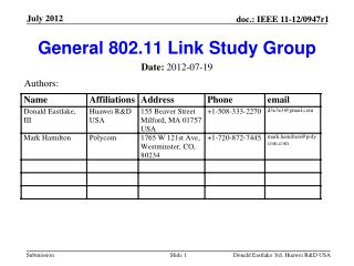 General 802.11 Link Study Group