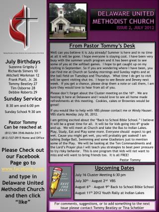 Delaware United Methodist Church Issue 2, JULY 2012