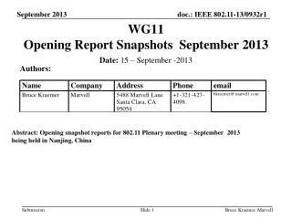 WG11   Opening Report Snapshots  September 2013