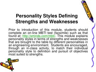 Personality Styles Defining Strengths and Weaknesses