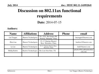 Discussion on 802.11ax functional requirements