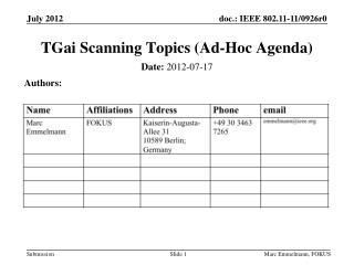 TGai  Scanning Topics (Ad-Hoc Agenda)
