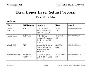 TGai  Upper Layer Setup Proposal