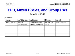 EPD, Mixed  BSSes , and Group RAs