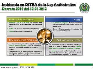 Incidencia en DITRA de la Ley Antitrámites  Decreto 0019 del 10 01 2012