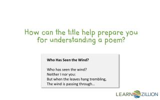 How can the title help prepare you for understanding a poem?