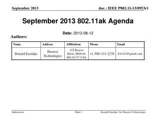 September 2013 802.11ak Agenda