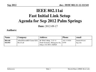 IEEE 802.11ai Fast Initial Link Setup  Agenda for  Sep 2012 Palm Springs