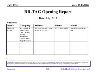 RR-TAG Opening Report