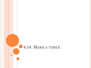 6.10  Make a table
