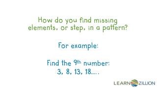How do you find  missing elements, or step, in  a pattern?