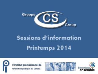 Sessions d'information Printemps  2014