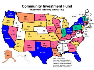 Community Investment Fund  Investment Totals By  State  (01/12)