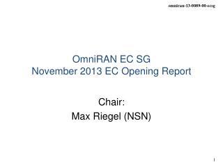OmniRAN EC SG November 2013 EC Opening Report