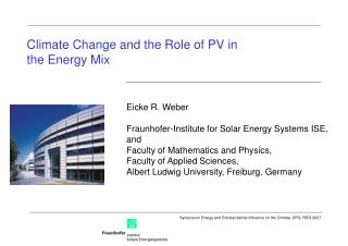 Climate Change and the Role of PV in the Energy Mix