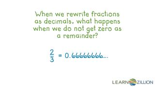 When we rewrite fractions as decimals, what happens when we do not get zero as a remainder?
