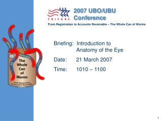 Briefing:  Introduction to  Anatomy of the Eye Date:   21 March 2007  Time:       1010   1100