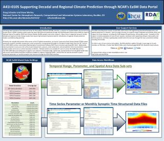 A41I-0105 Supporting Decadal and Regional Climate Prediction through NCAR's  EaSM  Data Portal