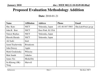 Proposed Evaluation Methodology Addition