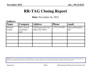 RR-TAG Closing Report