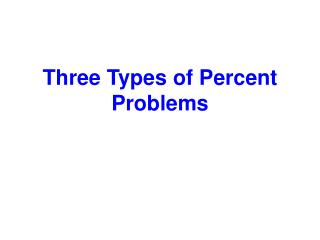 Three Types of Percent Problems