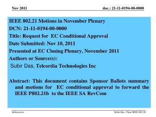 IEEE  802.21 Motions in  November  Plenary  DCN:  21-11-0194-00-0000