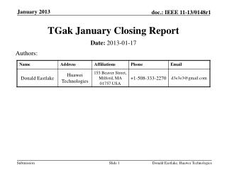 TGak  January Closing Report
