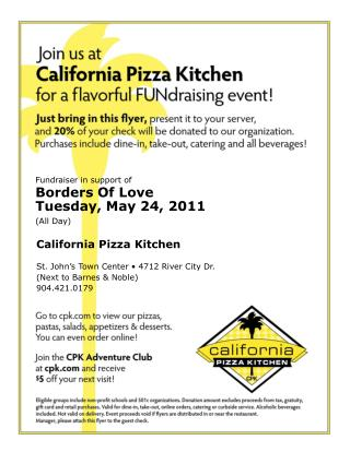 Fundraiser in support of Borders Of Love Tuesday, May 24, 2011 (All Day)