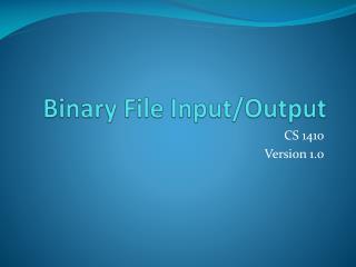 Binary File  Input/Output