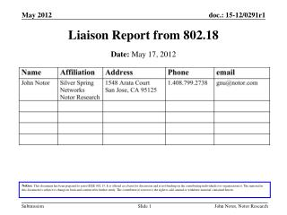 Liaison Report from 802.18
