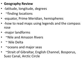 Geography Review -latitude, longitude, degrees   ~finding locations