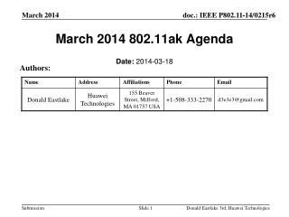 March 2014 802.11ak Agenda
