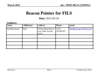 Beacon Pointer for FILS