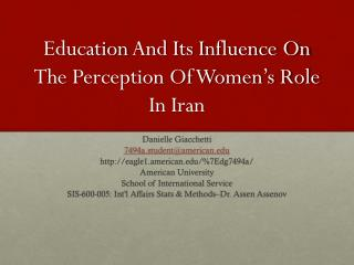 Education  And Its  Influence On The  Perception Of Women's Role In  I ran