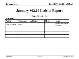 January  802.19  Liaison Report
