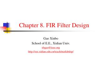 Chapter 8. FIR Filter Design