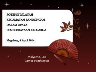 POTENSI WILAYAH  KECAMATAN BANDONGAN DALAM UPAYA  PEMBERDAYAAN KELUARGA Magelang , 4 April 2014