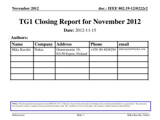 TG1 Closing Report for November 2012