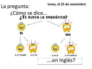La  pregunta : ¿ Cómo  se dice… ….en  Inglés ?